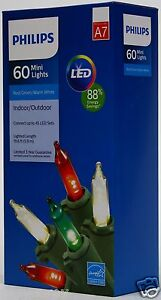 Philips LED 60 Red/Green/Warm White Mini Lights Green Wire Indoor ...