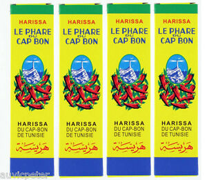 4x Harissa Paste Le Phare Du Cap Bon Hot Red Chilli