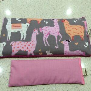 Wheat-Bag-Heat-Pack-34-x-17-cm-LLAMA-ALPACA-Pink-Eye-Pillow-FREE-Delivery