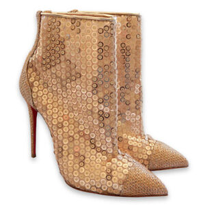 factory authentic 0dfe0 51e4d Details about NEW $1084 CHRISTIAN LOUBOUTIN Gipsy Gold Sequins Mesh Booties  - Nude - Size 38