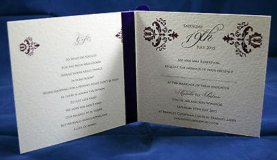 Damask Wedding Invitations ribbon day evening handmade personalised vintage