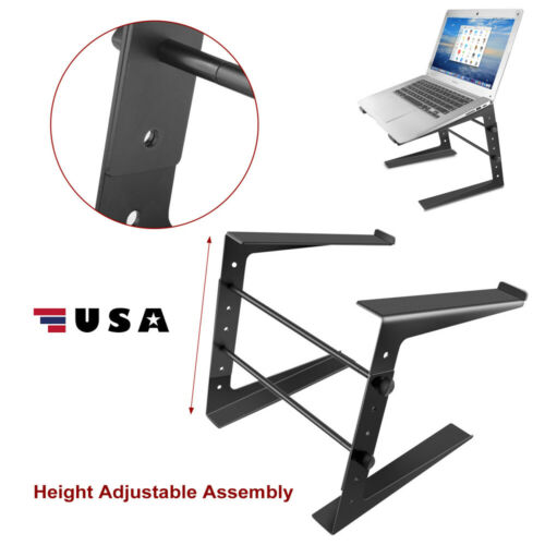Folding DJ Laptop Stand – Computer Table Top PC Rack Clamp Mount Holder Black