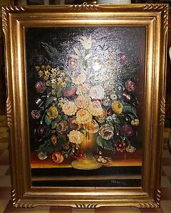 Natura morta grande quadro ad olio con cornice dorata for Dipinti ad olio fiori