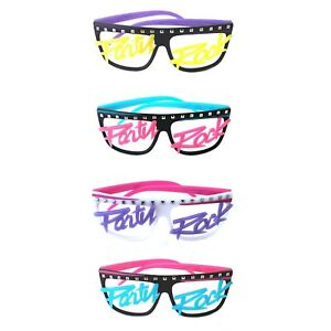 Men-039-s-Womens-Novelty-80s-LMFAO-Party-Rock-Glow-in-the-dark-no-Lenses-Eye-Glasses