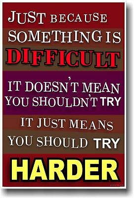 Just Because Something Is Difficult - NEW Classroom Motivational Poster