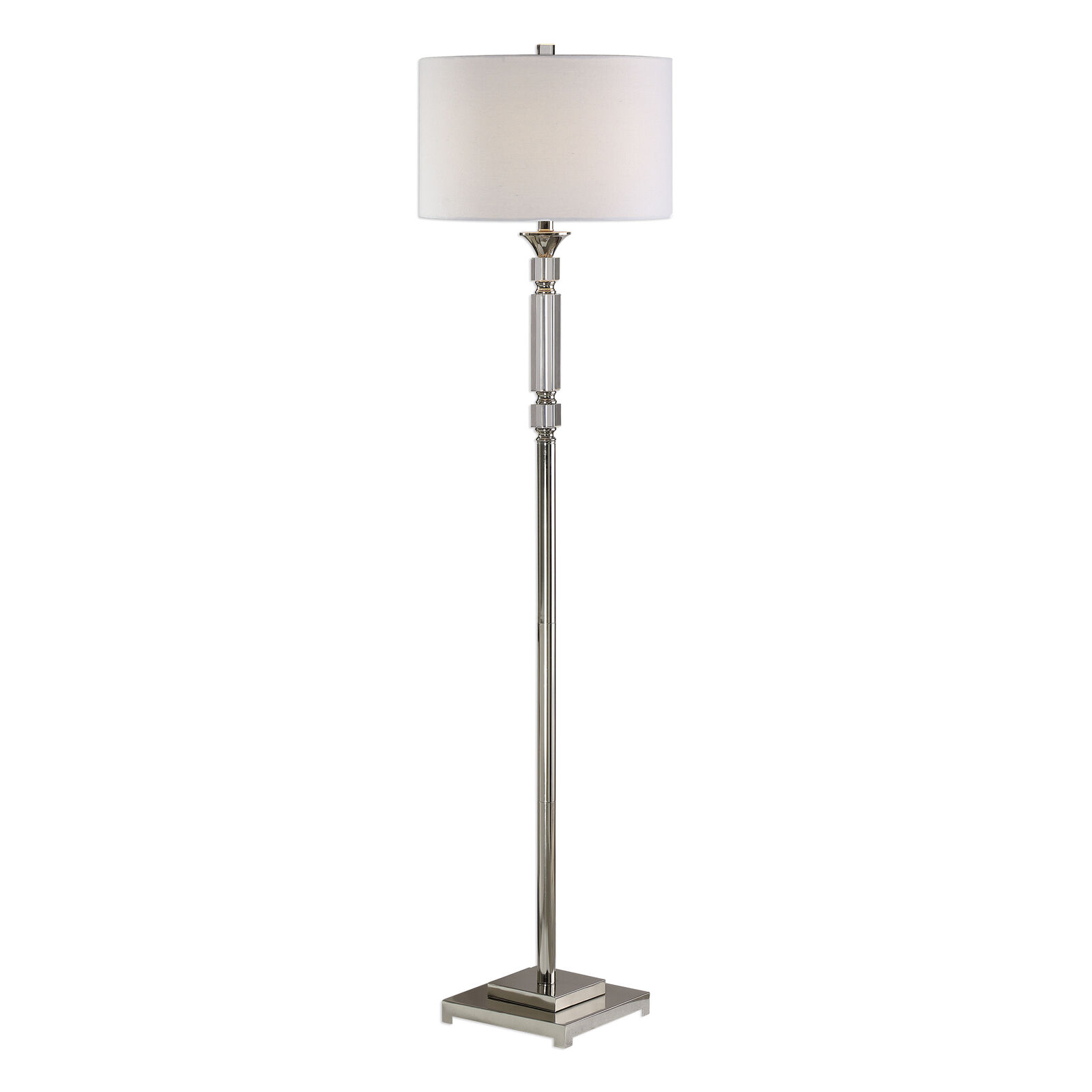 Picture of: Luxe Stacked Crystal Blocks Silver Column Floor Lamp White Shade Nickel Metal For Sale Online