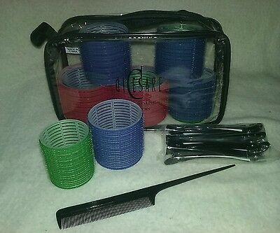 New diCesare HAIR STYLING SYSTEMS Large Hair Roller Kit12 Rollers 6 Clips 1 Comb