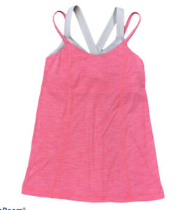 Lululemon Size 4 pink grey Beige athletic Loose Fitting tank top built in bra