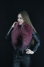 Dyed Silver Fox Fur Collar ~50 inch Stole Saga Furs Boa Collar Wrap Purple Red