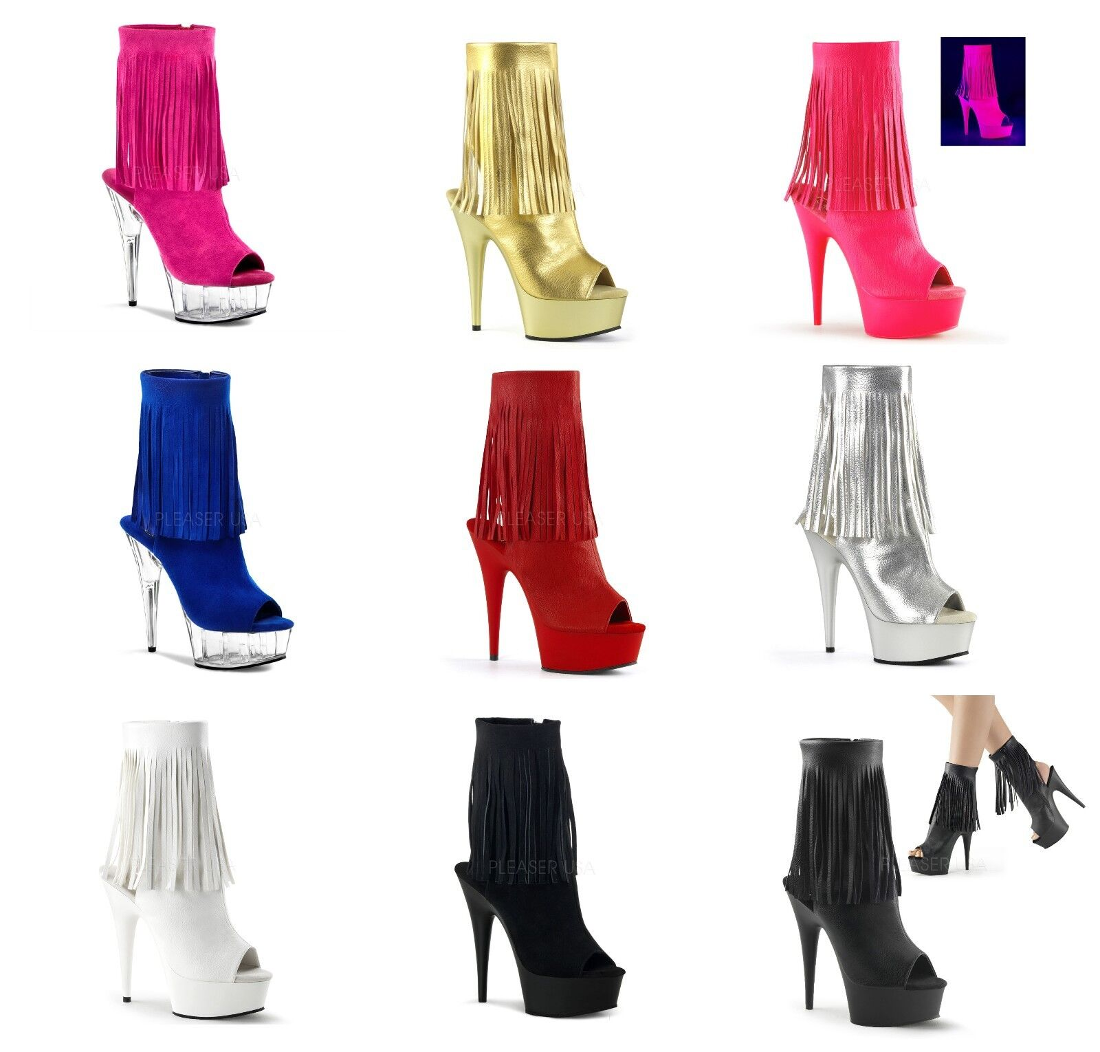 PLEASER Ankle Boots 1019 ADORE DELIGHT FASCINATE FLAMINGO ILLUSION