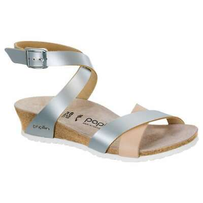 Birkenstock Womens Papillio Lola Sandals Ankle Strap Low Heel Wedges Silver NEW | eBay