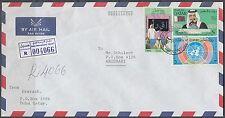 1987 Qatar R-Cover to Abu Dhabi with clean INTERNATIONAL AIRPORT cds [bl0205]