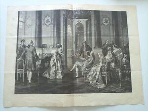 1885 Xilografía: Concierto en la Corte copia cuadro de V. Erdmann