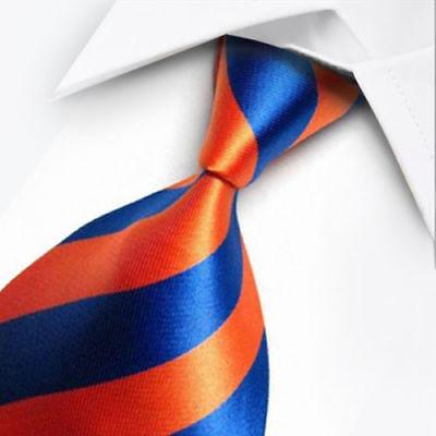 New Orange Paisley Mens Chinese Silk Tie /& Handkerchief Set Wedding UK Seller