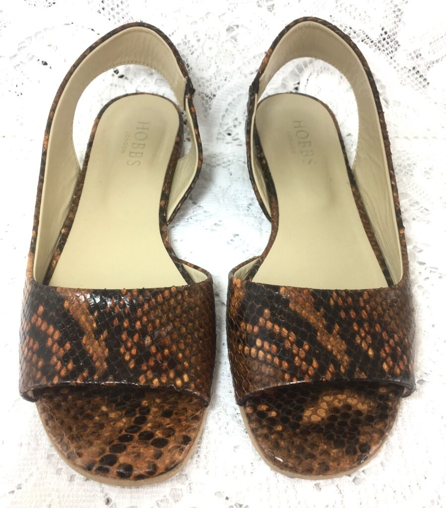 Hobbs London Nadia Sandale Snake Print Braun Tan Flat Made In   EU 37 UK 4