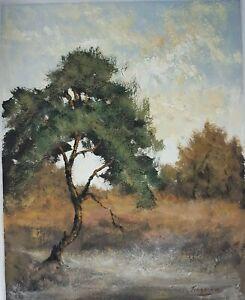 Tableau-Impressionnisme-Paysage-Huile-Sur-Carton-Signee-Peter-Van-Tongerloo