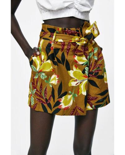 Zara Bermuda 6 Mustard 10 Skort a Brown Pantaloncini tropicali 38 fiori Medium Y M IPdq7I