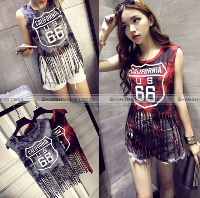 Womens Sleeveless Vest Tops Blouse Summer Casaul Tassel Crop Tops Tank T-Shirt
