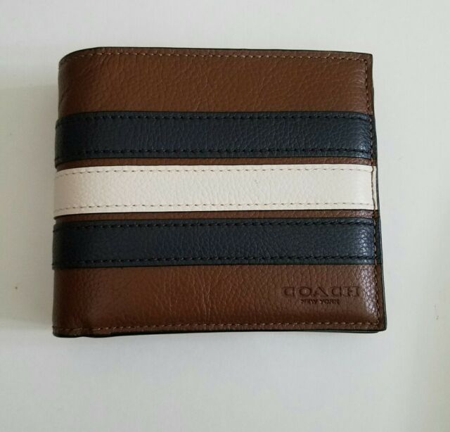 73645cce597c1 Coach F24649 Men s 3-In-1 Varsity Leather Stripe Saddle Compact ID Wallet   175