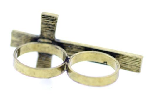 Vintage stil antik bronze farbiges kreuz doppelfinger ring