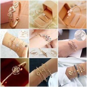 Women-Gold-Silver-Rose-Gold-Chain-Open-Cuff-Bangle-Bracelet-Wristband-Jewelry