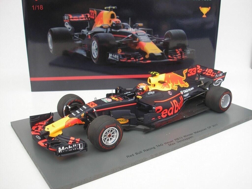 rosso Bull Racing rb13 gp Malaysian 2017 m. verstappen winner 1 18 Spark nuevo