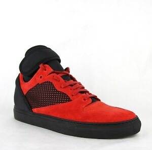 74d7481887cb3 $795 Balenciaga Men's Black/Red Suede Leather High Top Sneakers ...