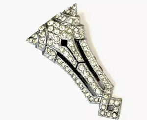 Vintage-Art-Deco-Czech-Silver-Tone-Paste-Dress-Clip-Brooch-GIFT-BOXED
