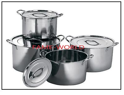 4PC Grand acier inoxydable restauration profonde Stock Soupe bouillante pot//stockpots Set