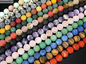 Natural-Matte-Frosted-Gemstone-Round-Loose-Beads-15-039-039-4mm-6mm-8mm-10mm-12mm