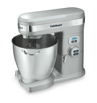 Cuisinart 7 Qt Stand Food Mixer, Brushed Chrome, Stainless Bowl, W  Attachments
