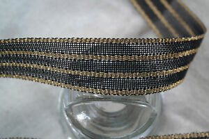 BTY-1-5-034-french-black-amp-gold-striped-vtg-nylon-straw-ribbon-braid-trim-millinery
