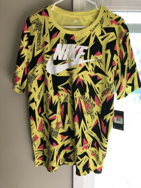 Nike Men's 90'S All Over Print T-Shirt Short Sleeve Yellow Size L NEW!