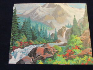 Completed-Paint-by-Number-Painting-20x16-034-Mtn-Stream-Ready-to-Frame-Canvas-S97