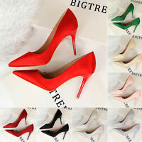 Lady New Fashion Shallow Satin Stiletto Pointed Toe Shoes Women High Heels Pumps