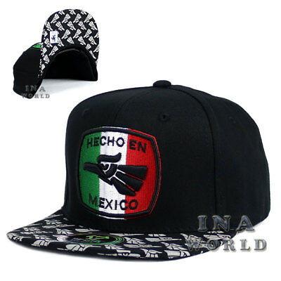 Black Hecho En Mexico Mexican hat Eagle Flag Embroidered Snapback Flat bill cap