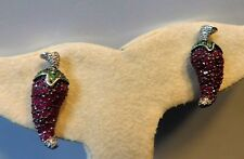 14k White Gold Ruby Peridot Diamonds Drop Dangle Chili Pepper Christmas Earrings