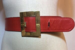 Vintage-Authentic-CELINE-Logo-Rectangle-Buckle-Belt-Red-Leather-Gold-EVC