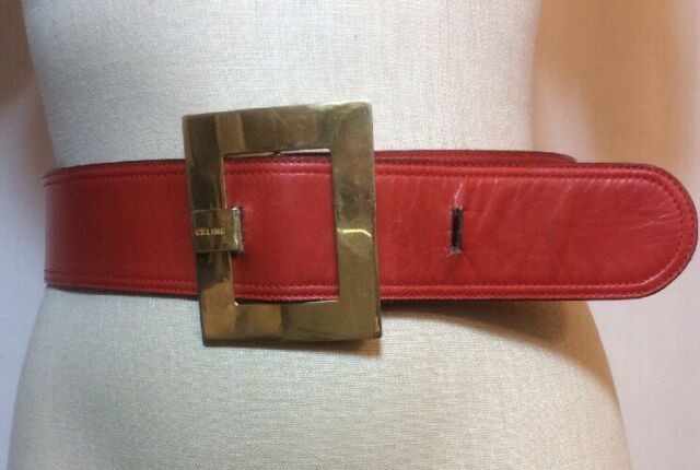 Vintage Authentic CELINE Logo Rectangle Buckle Belt Red Leather Gold EVC
