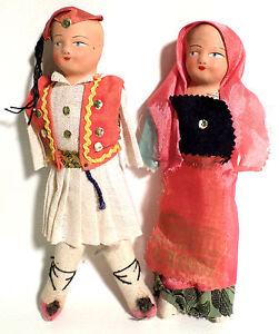 Set-of-Girl-amp-Boy-Vintage-Grecian-Souvenir-Dolls-Greece-No-Arms-Hard-Faces