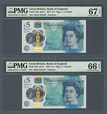Great Britain 2015 Polymer 5 Pounds NEAR SOLID Serial 8888XX GEM UNC PMG 66 EPQ