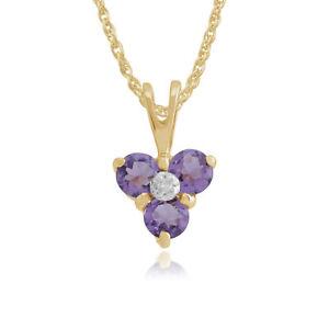 9ct-Oro-Amarillo-0-28ct-Amatista-y-Diamante-Colgante-de-cluster-en-cadena