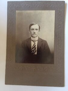 Cabinet-Card-Photo-Seated-Man-Mustache-Part-VTG-Antique-Late-1800s