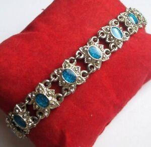 Bracelet Original Couleur Argent Main Gravée émail Bleu Bijou Vintage 5204