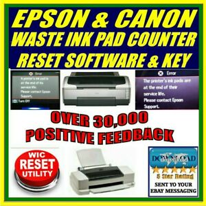 Details about EPSON & CANON PRINTER WASTE INK PAD COUNTER RESET + KEY  DOWNLOAD ARTISAN SX R L