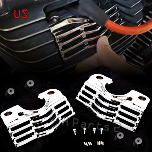 US Chrome Slotted Covers For Spark Plug-Head For Harley FLHR//T//X FLTR Road King