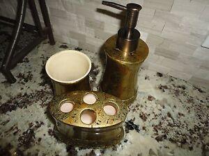 Croscill bijou 3pc set lotion dispenser tumbler toothbrush amber gold