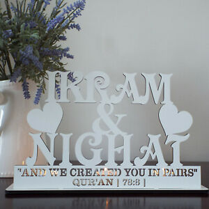 Personalised-Tea-Light-Holder-2-Names-amp-engraved-any-quote-painted-white