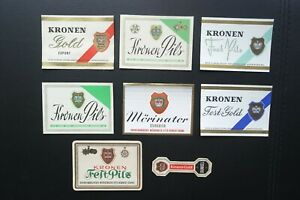 8-x-verschiedene-Otto-Kirner-Soehne-Kronenbrauerei-Moehringen-Bier-Etiketten-RAR