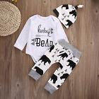 Newborn Baby Girls Boy Bear Long Sleeve Romper+ Pants +Hat 3pcs Outfits Set